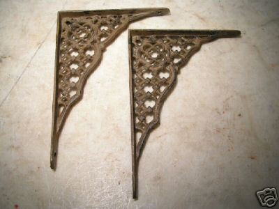 small Pr. Cast Iron CROSS Wall Shelf Bracket s Corbels Braces bz