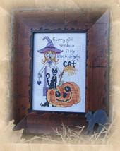 Every Girl Needs A Little Black Cat halloween cross stitch chart Designs by Lisa - $6.30