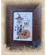 Every Girl Needs A Little Black Cat halloween cross stitch chart Designs... - $6.30