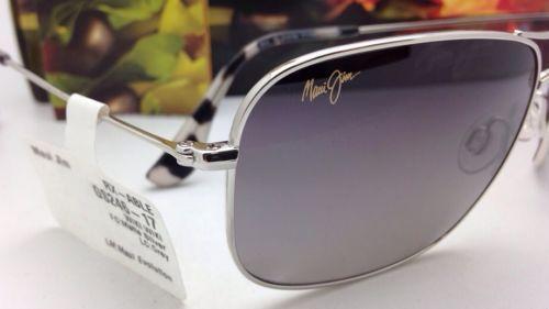 Maui Jim Gafas de Sol Titanio Wiki Mj 246-17 Plata con / Gris Lentes Polarizadas