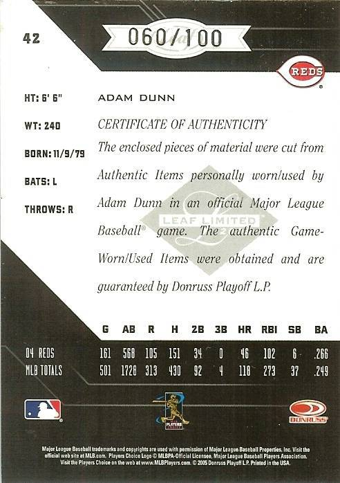 2005 leaf limited reds adam dunn game used bat prime jersey 60/100 image 2