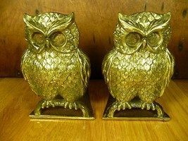 Vintage Mid Century BRASS OWL Book Ends Bookend... - $49.95