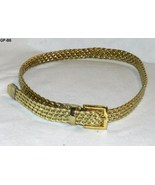 "Gold Weave  37"" X 3/4""  Faux Leather Belt with... - $7.99"