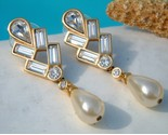 Vintage signed swarovski sal earrings crystals pearl dangles pierced thumb155 crop