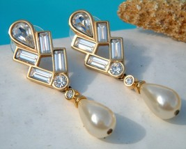 Vintage Signed Swarovski SAL Earrings Crystals Pearl Dangle - $29.95
