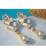 Vintage Signed Swarovski SAL Earrings Crystals Pearl Dangle - £24.12 GBP