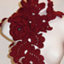 Shore red Shell Scarf 159, scarf, lariat, lace, crochet, handmade,shawl,necklace image 2