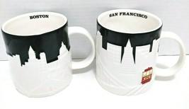 2012 Starbucks Embossed San Francisco Boston Coffee Mugs  - $50.00