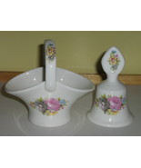 "English Bone China Basket & Bell with Matching Floral Pattern - Marked ""... - $10.00"