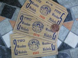 Vtg Wooden Nickel Certificates Jeannette 50th Birthday Celebration Glass... - $19.78