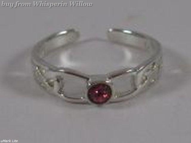 Celtic Design Toe Ring with Pink Crystal