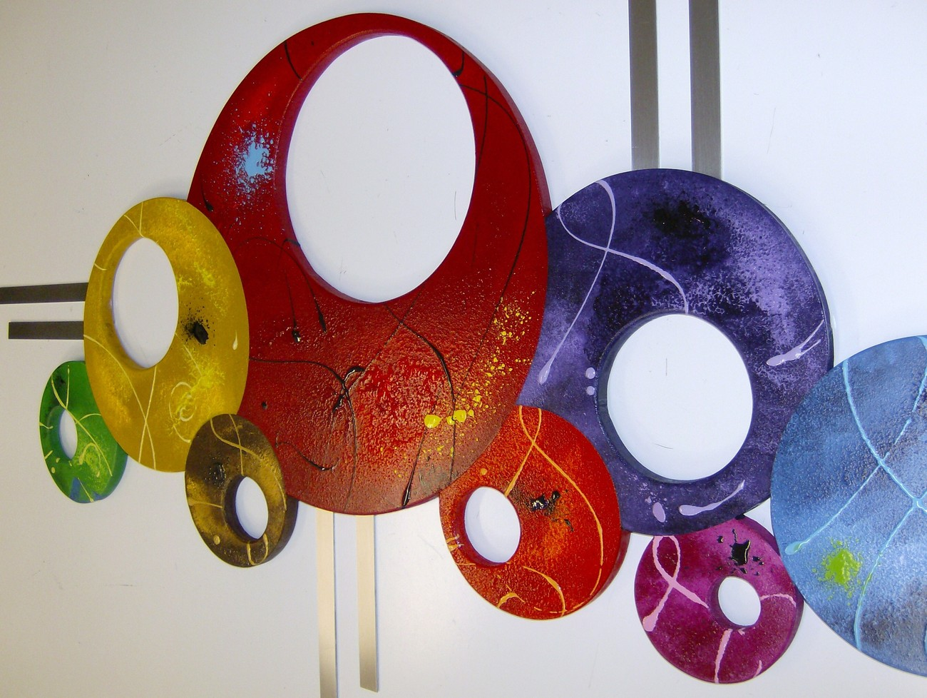 "Colorful Contemporary Modern Abstract Circle Wall Sculpture sizw 48x25 ""Bubbly#3"