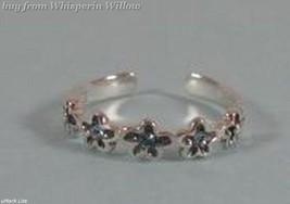 Sterling Silver Toe Ring with Blue Crystal Flowers - $10.99