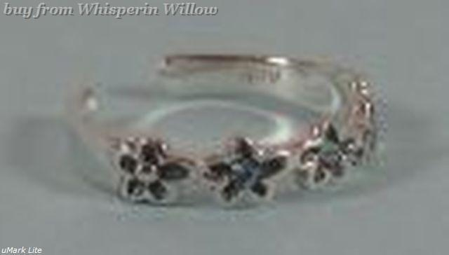 Sterling Silver Toe Ring with Blue Crystal Flowers