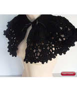 French Black Capelet, french chic black,shawl,cape,lace,victorian,croche... - $25.00
