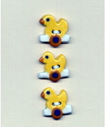 Handmade ceramic buttons  -Yellow puddle ducks on wheels - $6.00