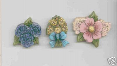 Ceramic Button Covers PRETTY FLOWERS