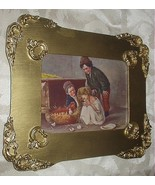 Sweet Newly Hatched Baby Chicks,Children Holding Them,Antique Gold Wood ... - $88.00
