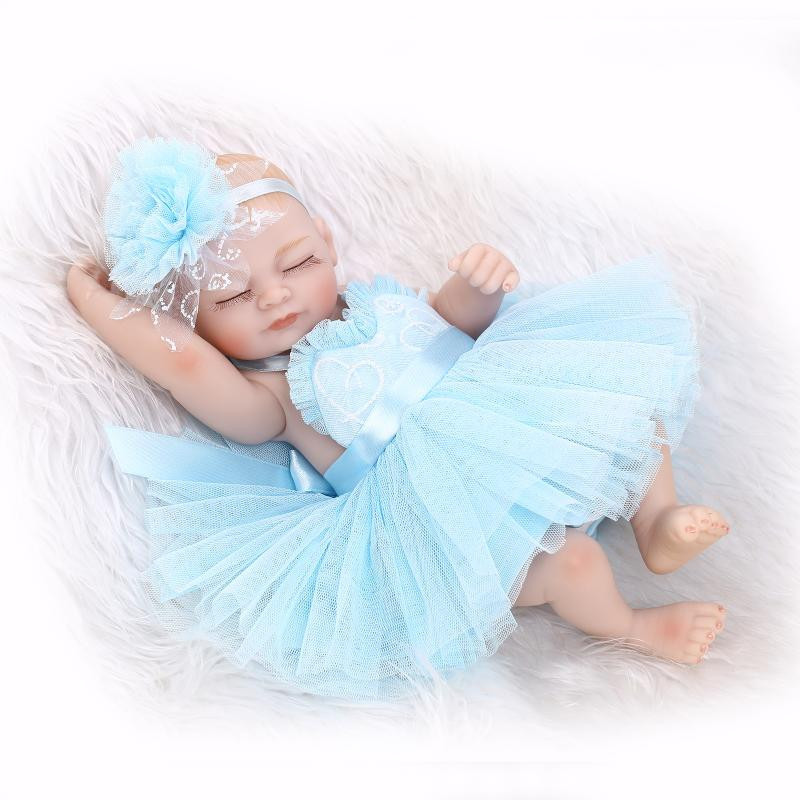 Dolls silicone, 10 Inches miniature baby soft vinyl real touch pretty blue dress for sale  USA