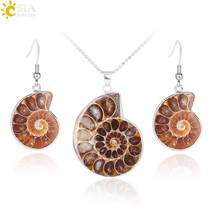 CSJA Natural Unique Ammonite Jewelry Set Fossils Necklaces Pendants Conc... - $16.07