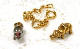 Joan Rivers Noah's Ark Hippos Hippopotamus Charm Pair Silver Gold Set Chain - $50.00