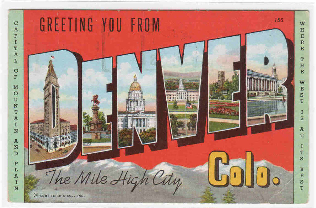 Greetings from Denver Colorado Large Letter linen postcard