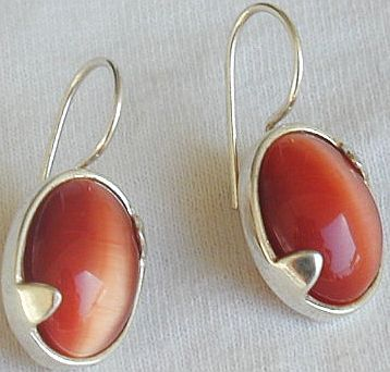 Orange cat eye earrings LH