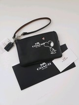 NWT COACH PEANUTS SNOOPY KISS CALF LEATHER WRISTLET WALLET LIMITED EDITION - $182.33