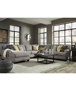MAYFIELD Large Gray Microfiber Living Room Sofa Couch Chaise 5pcs Sectio... - $2,182.79