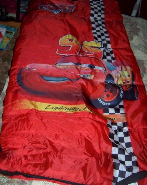 Overnight Backpack Cars Lightning McQueen Sleeping Bag Cars Water Bottle NEW