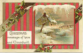 Christmas Love and Goodwill German Post Card - $6.00