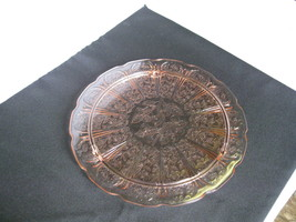 "Jeannette Glass Pink Cherry Blossom 10 1/4"" Cake Plate USA  - $47.99"