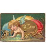 An Easter Cherub Greetings 1909 Post Card - $6.00