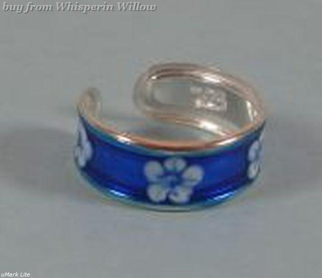 Primary image for Blue Flower Epoxy Toe Ring
