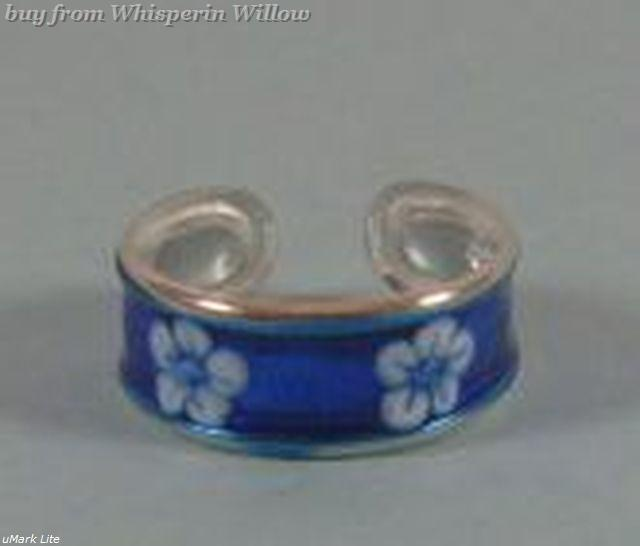 Blue Flower Epoxy Toe Ring