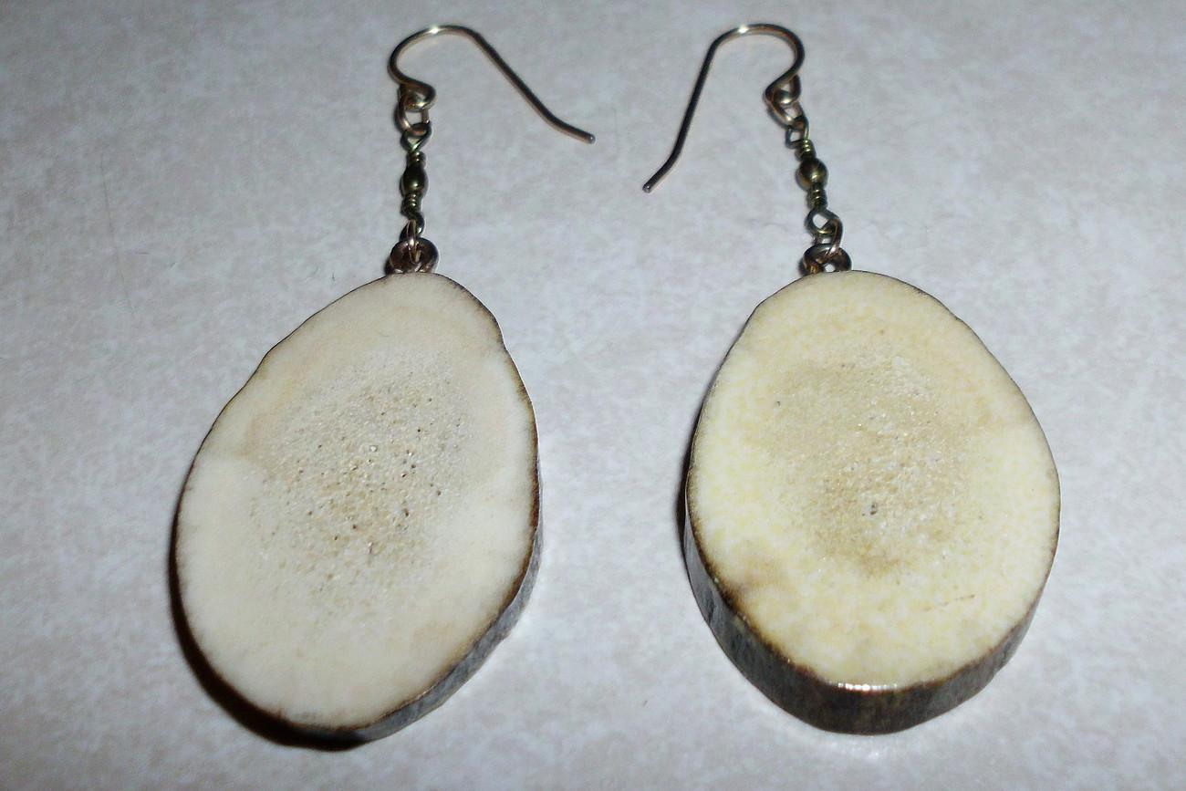 Handcrafted Elk or Deer Antler Cut Pierced Earrings