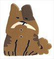 "Large Brown Dog 1177L handmade clay button 1"" JABC Just Another Button Co"