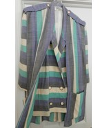 BERNARD PERRIS Paris JACKET Coat Blazer Over Panel Stripes Womens M/L Vi... - $292.05