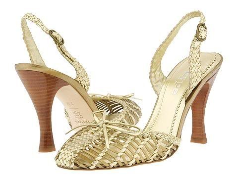 Hype Gold Sandal Womens Size 8 Dress Shoes Heels Pumps Platform Leather Bow