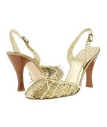 Hype Gold Sandal Womens Size 8 Dress Shoes Heels Pumps Platform Leather Bow - $32.00