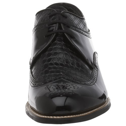 Stacy Adams Men's Dayton Wing-Tip Oxford Shoe Black Snak/Patent  10 1/2 D,