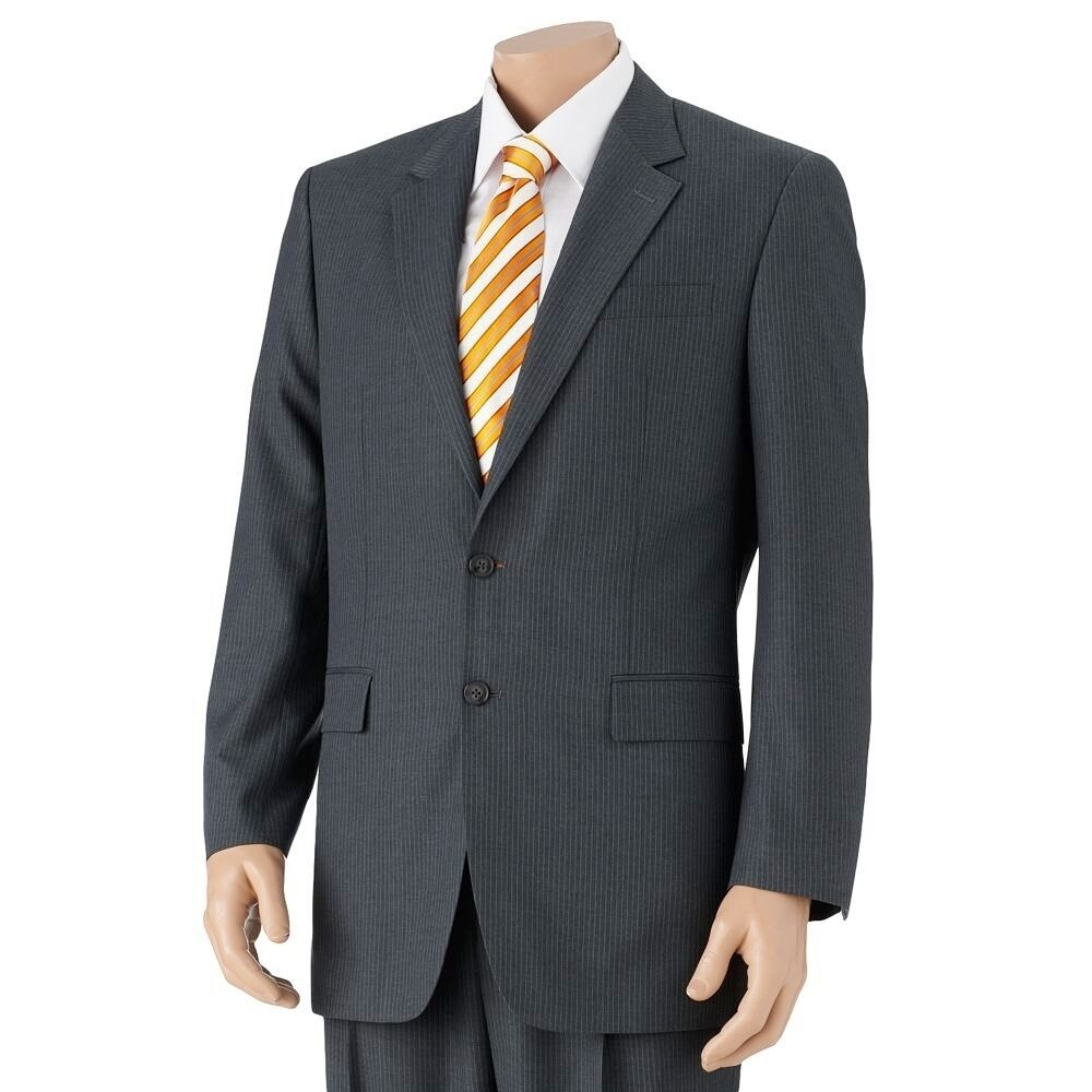 Primary image for Croft & Barrow Classic Fit Pin Stripe Suit Jacket Separates Slacks Charcoal Gray