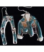 Silvertone Denim Look Enamel Jacket Pants Wire Earrings - $5.00