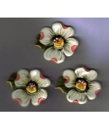 Hand made Ceramic Button Covers     4 DOGWOOD BLOSSOMS - $9.00