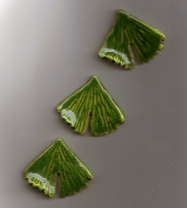 Hand made Ceramic Button Covers     3 GINGKO LEAVES