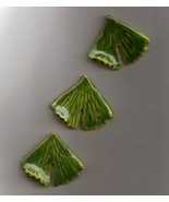 Hand made Ceramic Button Covers     3 GINGKO LEAVES - $9.00
