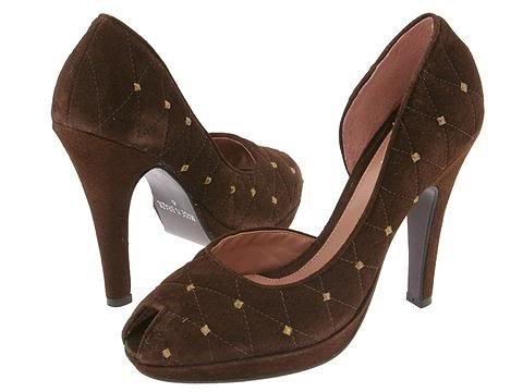 Type Z Aurora Brown Suede Womens 9 Shoes Heels Dress Pumps Platform Metal Studs