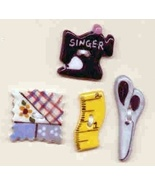 Ceramic Buttons   Sewing Theme - $8.00