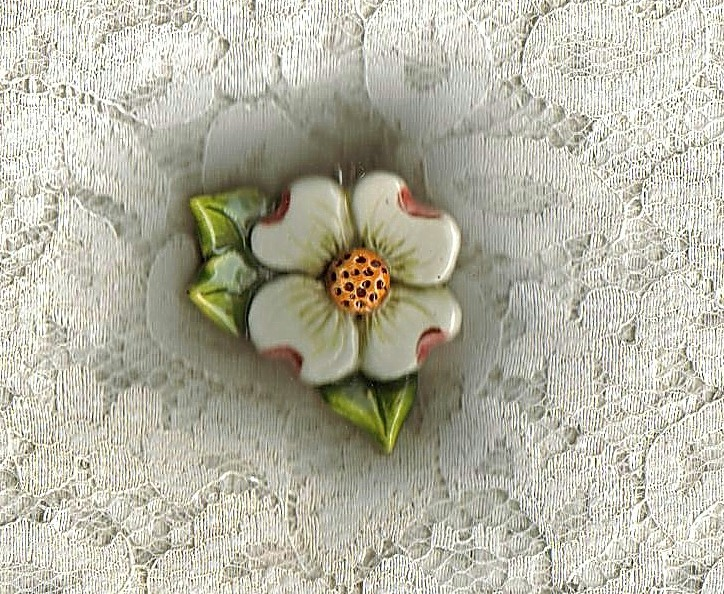 Ceramic Handcrafted Handpainted Dogwood Pendant
