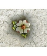 Ceramic Handcrafted Handpainted Dogwood Pendant - $12.50